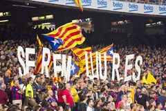 Catalan supporters. Unidentified FCB supporters at Spanish League match between FC Barcelona and Celta de Vigo, final score 0-1, on November 1, 2014, in Camp Nou Royalty Free Stock Photography