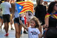 Catalan symboler på den Diada självständighetmanifestationen Royaltyfri Bild