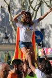 Catalan symboler på den Diada självständighetmanifestationen Arkivbilder
