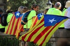 Catalan symboler på den Diada självständighetmanifestationen Royaltyfri Fotografi