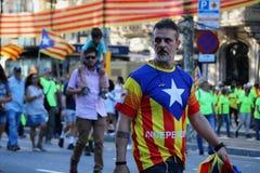 Catalan symboler på den Diada självständighetmanifestationen Fotografering för Bildbyråer
