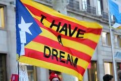 Catalan symboler på den Diada självständighetmanifestationen Royaltyfria Bilder