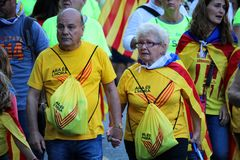 Catalan symbols at Diada independence manifestation Stock Image