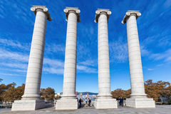 Catalan symbols four strong column on the Monjuic hill Royalty Free Stock Photo
