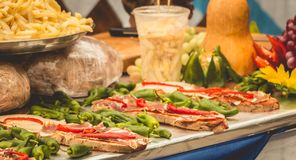 Catalan tapas on the stall of a street vendor. In Spain stock photos