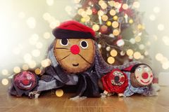 CATALAN TRADITIONS. THREE CHRISTMAS LOG WEARING RED HAT  OR SHITTING LOG. WOOD CHRISTMAS DECORATION.  royalty free stock photos
