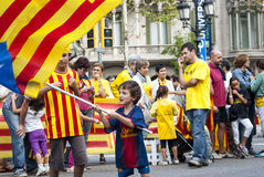 Catalan väg som begär självständigheten av Catalonia Arkivbild