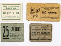 Catalan vouchers and monetary tickets. Spanish civil war. Catalan vouchers and monetary tickets of 50 cents and a peseta of Benicarlo, Les Borges Blanques and Royalty Free Stock Photography