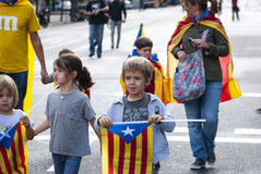 Catalan way, demanding the independence of Catalonia Royalty Free Stock Image