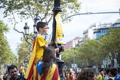 Catalan way, demanding the independence of Catalonia Stock Photos