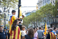 Catalan way, demanding the independence of Catalonia Royalty Free Stock Photo