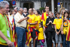 Catalan way, demanding the independence of Catalonia Stock Photography