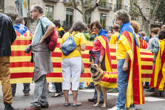 Catalan way, human chain for demanding the independence of Catal Royalty Free Stock Image