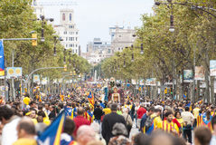 Catalan way, human chain for demanding the independence of Catal Royalty Free Stock Photos