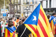 Catalan way, human chain for demanding the independence of Catal Royalty Free Stock Images