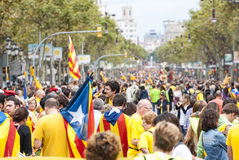 Catalan way, human chain for demanding the independence of Catal Royalty Free Stock Photography