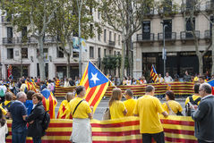 Catalan way, human chain for demanding the independence of Catal Stock Photo