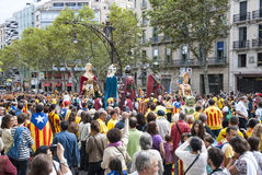Catalan way, human chain for demanding the independence of Catal Stock Images