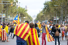 Catalan way, human chain for demanding the independence of Catal Stock Photos