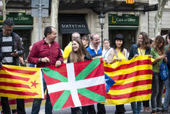 Catalan way, human chain for demanding the independence of Catal Stock Image