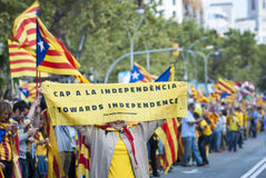 Catalan way, human chain for demanding the independence of Catal Royalty Free Stock Photo