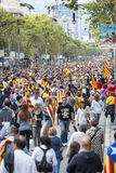 Catalan way, human chain for demanding the independence of Catal Stock Photography