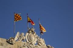 Catalanflaggor Arkivfoto