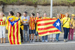 Catalans made a 400 km independence human chain Royalty Free Stock Photos
