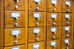 Catalog card. A cabinet of traditional catalog card Stock Images