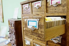 Catalog cards in library Stock Photos