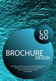 Catalog cover vector template. Turquoise sea green marine waves texture. Marketing catalog trendy layout design. Cover with headline sample text. Liquid vector illustration
