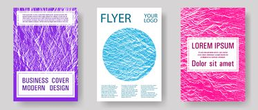Catalog cover vector templates. Teal pink purple waves texture backdrops. Geometric typography cover. Fluid buzzing wavy noise ripple texture. Marketing royalty free illustration