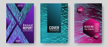 Catalog cover vector templates. Pink blue purple synthwave textures. Research development plan covers. Buzzing rippling motion background texture. Marketing royalty free illustration