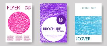 Catalog cover vector templates. Teal pink purple waves texture backdrops. Marketing catalog trendy layouts design set. Geometric creative solutions. Buoyant vector illustration