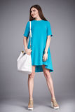 Catalog of fashion clothes for business woman mom casual office style meeting walk party silk cotton dress summer collection acces Stock Photography