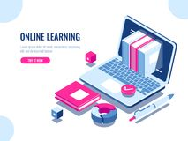Catalog of online courses isometric icon, online education, internet learning, laptop with book on screen, seo. Optimization, content making, flat vector vector illustration