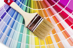 Catalog with paint color samples and brush Stock Photo