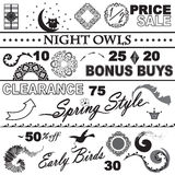 Catalog Sale Collection Black and White Set Royalty Free Stock Photos