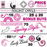 Catalog Sale Collection Pink and White Set Royalty Free Stock Photos