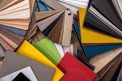 Catalog of samples of wood chips. In color stock photography