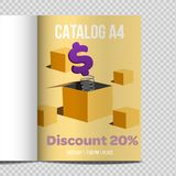 Fast vector catalog A4 sheet illustration promotion. Catalog A4 vertical. Fast design vector illustration promotion. Dollar jump suprise vector illustration