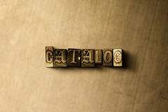 CATALOGO - primo piano della parola composta annata grungy sul contesto del metallo Immagini Stock