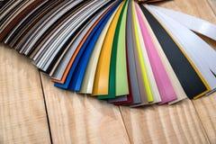 Catalogue des échantillons de bord de bord pour des meubles Photographie stock