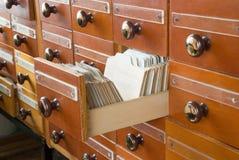 Catalogue sur fiches de bibliothèque Photographie stock