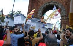 Catalonië verboden onafhankelijkheidsreferendum één jaarverjaardag wijd royalty-vrije stock afbeeldingen