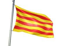 Catalonia av att vinka för Spanien flagga som isoleras på den realistiska illustrationen 3d för vit bakgrund stock illustrationer