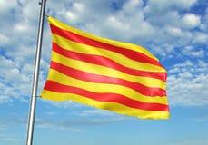 Catalonia av den Spanien flaggan som vinkar med himmel på den realistiska illustrationen 3d för bakgrund vektor illustrationer
