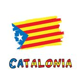 Catalonia blue estelada national flag painted as colorful brush stroke. And typography text with same colors isolated on a white background. Vector illustration Stock Images