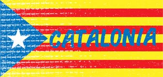Catalonia blue typography text on estelada national flag textured background. Vector illustration for cards, banners, print, web Stock Photography