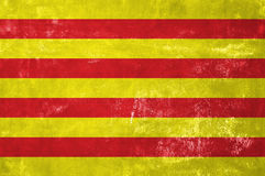 Catalonia - Catalan Flag. On Old Grunge Texture Background Royalty Free Stock Photography